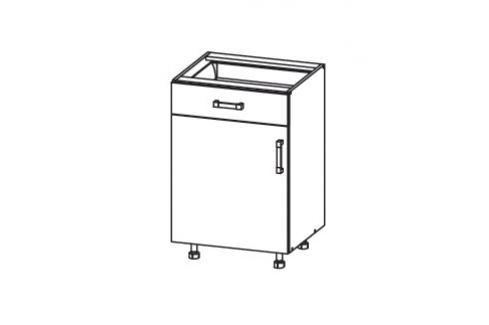 HAMPER dolní skříňka D1S 50 SMARTBOX, korpus bílá alpská, dvířka dub sanremo světlý Kuchyňské dolní skříňky