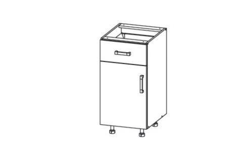 HAMPER dolní skříňka D1S 40 SAMBOX, korpus bílá alpská, dvířka dub sanremo světlý Kuchyňské dolní skříňky