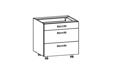 HAMPER dolní skříňka D3S 80 SMARTBOX, korpus bílá alpská, dvířka dub sanremo světlý Kuchyňské dolní skříňky