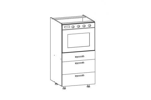 HAMPER dolní skříňka DP3S 60 SMARTBOX, korpus bílá alpská, dvířka dub sanremo světlý Kuchyňské dolní skříňky