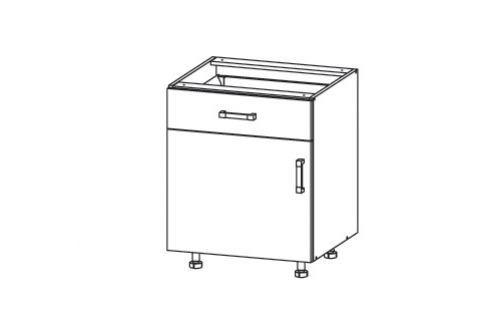 HAMPER dolní skříňka D1S 60 SMARTBOX, korpus bílá alpská, dvířka dub sanremo světlý Kuchyňské dolní skříňky