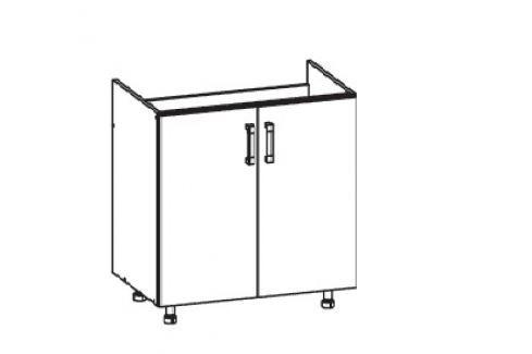 HAMPER dolní skříňka DK80 pod dřez, korpus congo, dvířka dub sanremo světlý Kuchyňské dolní skříňky