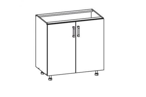 HAMPER dolní skříňka D80, korpus ořech guarneri, dvířka dub sanremo světlý Kuchyňské dolní skříňky