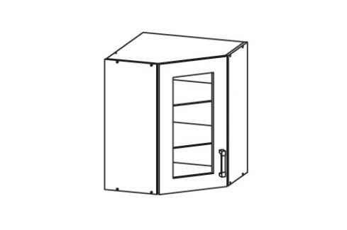 HAMPER horní skříňka GNWU vitrína - rohová, korpus ořech guarneri, dvířka dub sanremo světlý Kuchyňské horní skříňky