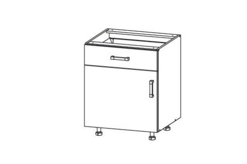 HAMPER dolní skříňka D1S 60 SMARTBOX, korpus šedá grenola, dvířka dub sanremo světlý Kuchyňské dolní skříňky