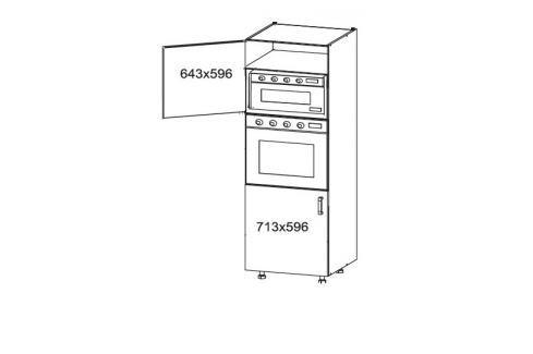 HAMPER vysoká skříň DPS60/207, korpus šedá grenola, dvířka dub sanremo světlý Kuchyňské linky