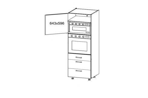 HAMPER vysoká skříň DPS60/207 SAMBOX, korpus šedá grenola, dvířka dub sanremo světlý Kuchyňské linky