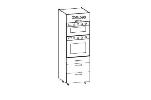HAMPER vysoká skříň DPS60/207 SAMBOX O, korpus šedá grenola, dvířka dub sanremo světlý Kuchyňské linky