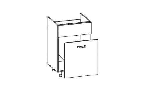 HAMPER dolní skříňka DKS60 SMARTBOX pod dřez, korpus šedá grenola, dvířka dub sanremo světlý Kuchyňské dolní skříňky