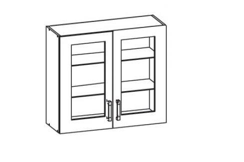 TAPO PLUS horní skříňka G80/72 vitrína, korpus congo, dvířka béžová šampaňská lesk Kuchyňské horní skříňky