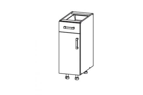 TAPO PLUS dolní skříňka D1S 30 SAMBOX, korpus šedá grenola, dvířka bílý lesk Kuchyňské dolní skříňky