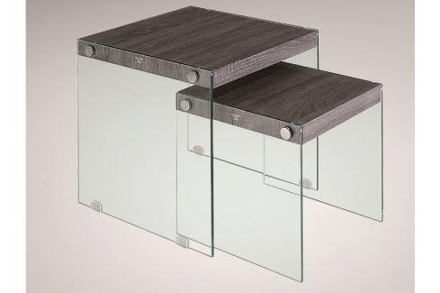 MOHAN set 2 konferenčních stolků, sklo/vzor dřeva Konferenční stolky